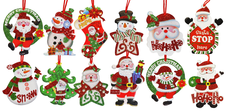 décoration sapin - personnages brillants à accrocher (12